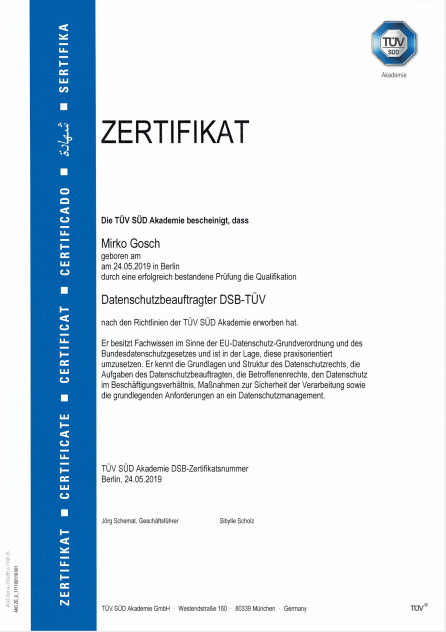 Datenschutzbeauftragter DSB-TÜV