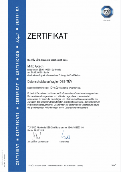 TÜV Süd Zertifikat DSB Mirko Gosch Mai 2019